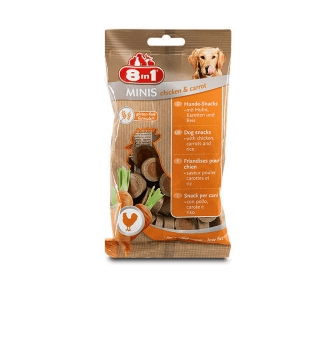 8in1 Minis - Лакомство за кучета с пилишко и моркови
